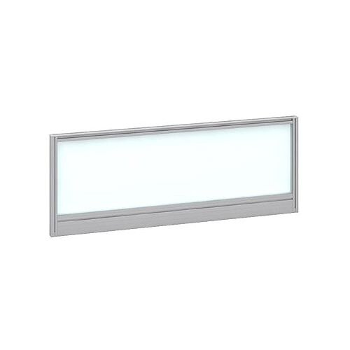 Straight Glazed Office Desk Screen 1000mmx380mm - Polar White With Silver Aluminium Frame