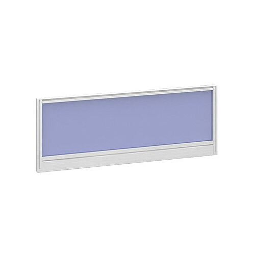 Straight Glazed Office Desk Screen 1000mmx380mm - Electric Blue With White Aluminium Frame