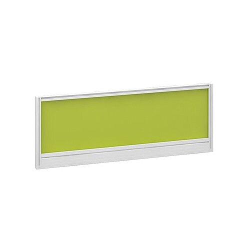 Straight Glazed Office Desk Screen 1000mmx380mm - Acid Green With White Aluminium Frame