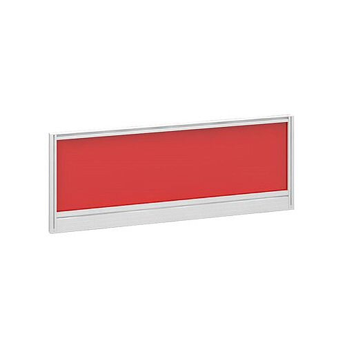 Straight Glazed Office Desk Screen 1000mmx380mm - Chili Red With White Aluminium Frame
