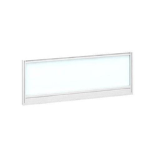 Straight Glazed Office Desk Screen 1000mmx380mm - Polar White With White Aluminium Frame