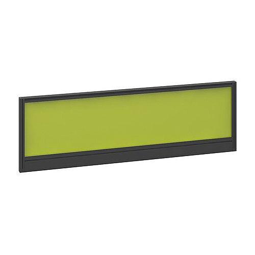 Straight Glazed Office Desk Screen 1200mmx380mm - Acid Green With Black Aluminium Frame