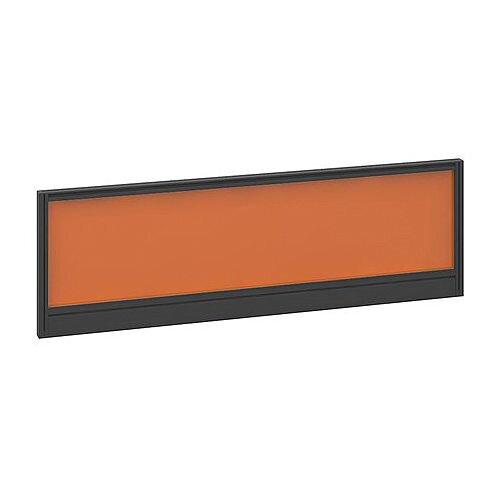 Straight Glazed Office Desk Screen 1200mmx380mm - Mandarin Orange With Black Aluminium Frame