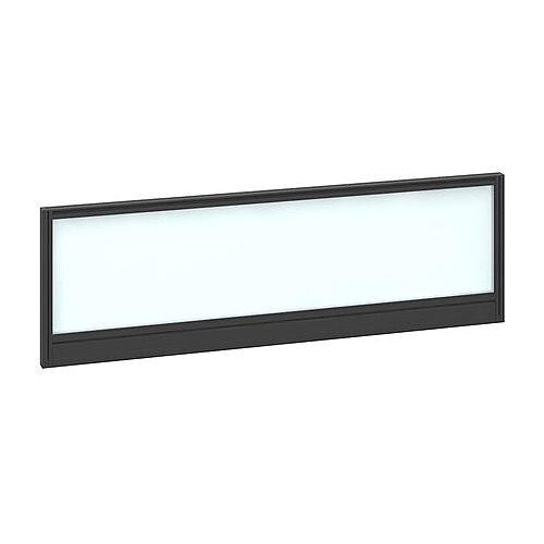 Straight Glazed Office Desk Screen 1200mmx380mm - Polar White With Black Aluminium Frame