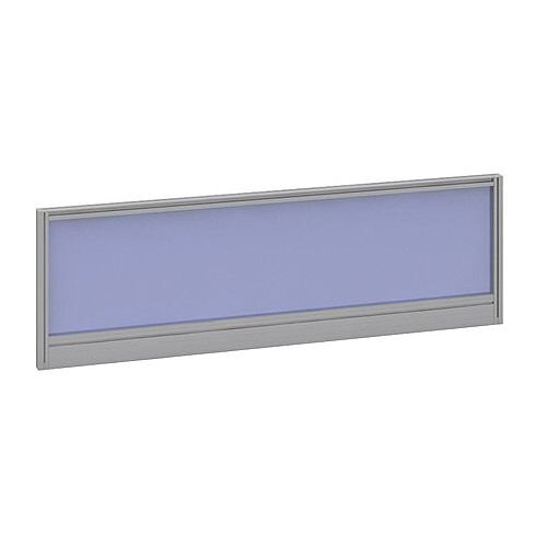 Straight Glazed Office Desk Screen 1200mmx380mm - Electric Blue With Silver Aluminium Frame