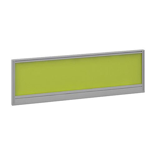 Straight Glazed Office Desk Screen 1200mmx380mm - Acid Green With Silver Aluminium Frame