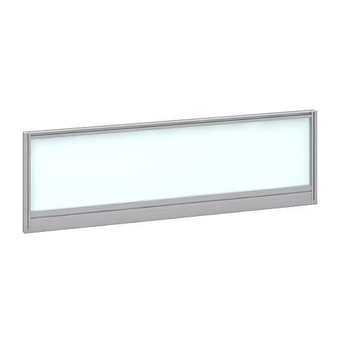 Straight Glazed Office Desk Screen 1200mmx380mm - Polar White With Silver Aluminium Frame