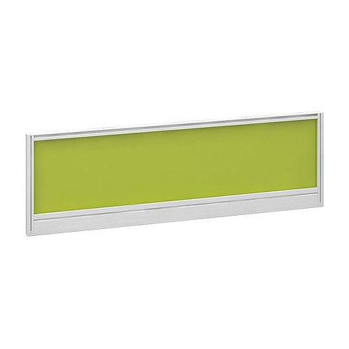 Straight Glazed Office Desk Screen 1200mmx380mm - Acid Green With White Aluminium Frame