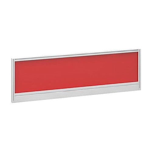 Straight Glazed Office Desk Screen 1200mmx380mm - Chili Red With White Aluminium Frame