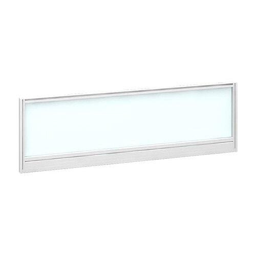 Straight Glazed Office Desk Screen 1200mmx380mm - Polar White With White Aluminium Frame