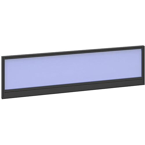 Straight Glazed Office Desk Screen 1400mmx380mm - Electric Blue With Black Aluminium Frame