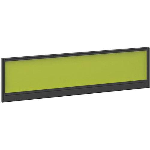 Straight Glazed Office Desk Screen 1400mmx380mm - Acid Green With Black Aluminium Frame