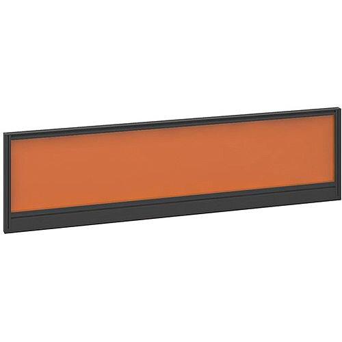 Straight Glazed Office Desk Screen 1400mmx380mm - Mandarin Orange With Black Aluminium Frame