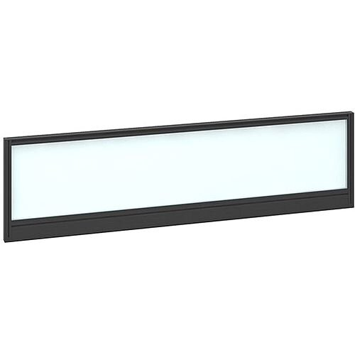 Straight Glazed Office Desk Screen 1400mmx380mm - Polar White With Black Aluminium Frame