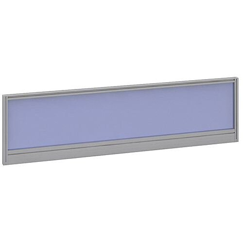 Straight Glazed Office Desk Screen 1400mmx380mm - Electric Blue With Silver Aluminium Frame