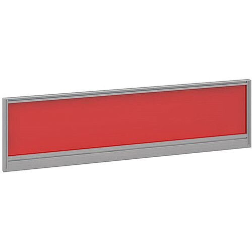 Straight Glazed Office Desk Screen 1400mmx380mm - Chili Red With Silver Aluminium Frame