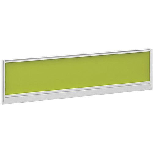 Straight Glazed Office Desk Screen 1400mmx380mm - Acid Green With White Aluminium Frame