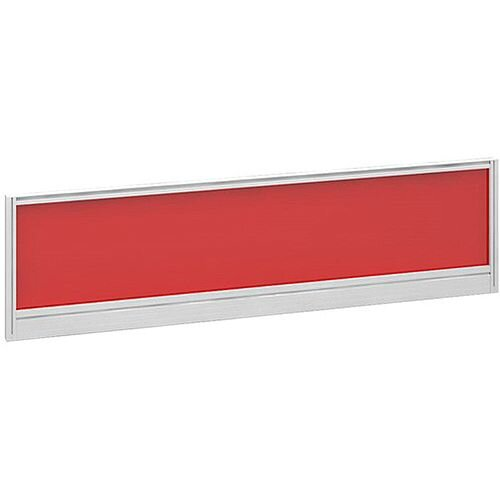 Straight Glazed Office Desk Screen 1400mmx380mm - Chili Red With White Aluminium Frame