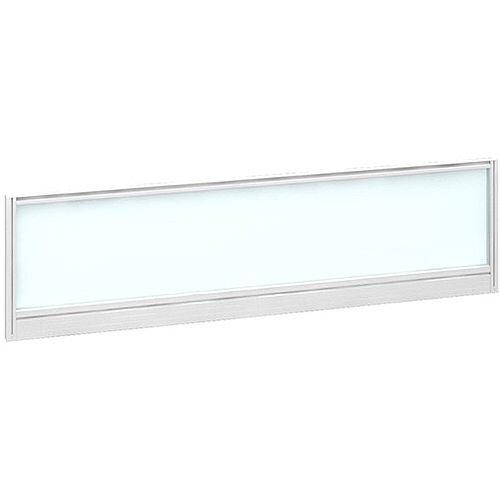 Straight Glazed Office Desk Screen 1400mmx380mm - Polar White With White Aluminium Frame