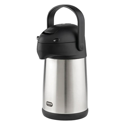 Addis Chrome President Pump Pot Vacuum Flask Stainless Steel Jug 2 Litre – Hot Or Cold Drinks, Maintains Temperature For 6 Hours, Stainless-Steel, Double-Walled &Swing Handle (637201600)