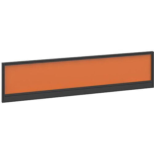 Straight Glazed Office Desk Screen 1600mmx380mm - Mandarin Orange With Black Aluminium Frame
