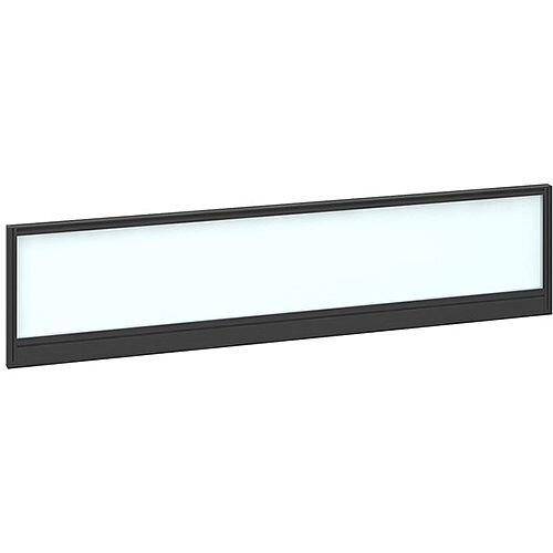 Straight Glazed Office Desk Screen 1600mmx380mm - Polar White With Black Aluminium Frame