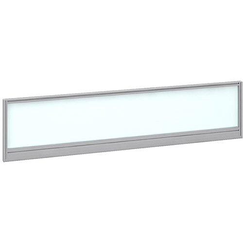 Straight Glazed Office Desk Screen 1600mmx380mm - Polar White With Silver Aluminium Frame