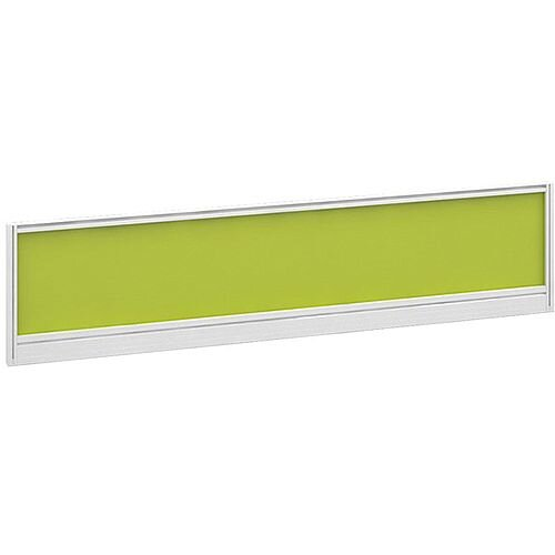 Straight Glazed Office Desk Screen 1600mmx380mm - Acid Green With White Aluminium Frame