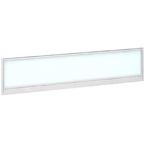 Straight Glazed Office Desk Screen 1600mmx380mm - Polar White With White Aluminium Frame