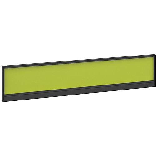 Straight Glazed Office Desk Screen 1800mmx380mm - Acid Green With Black Aluminium Frame