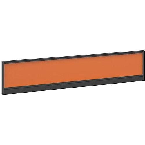 Straight Glazed Office Desk Screen 1800mmx380mm - Mandarin Orange With Black Aluminium Frame
