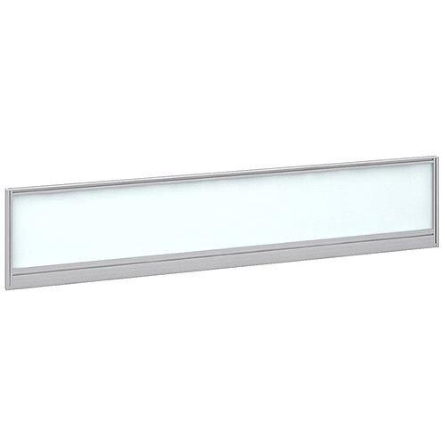 Straight Glazed Office Desk Screen 1800mmx380mm - Polar White With Silver Aluminium Frame