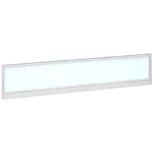 Straight Glazed Office Desk Screen 1800mmx380mm - Polar White With White Aluminium Frame