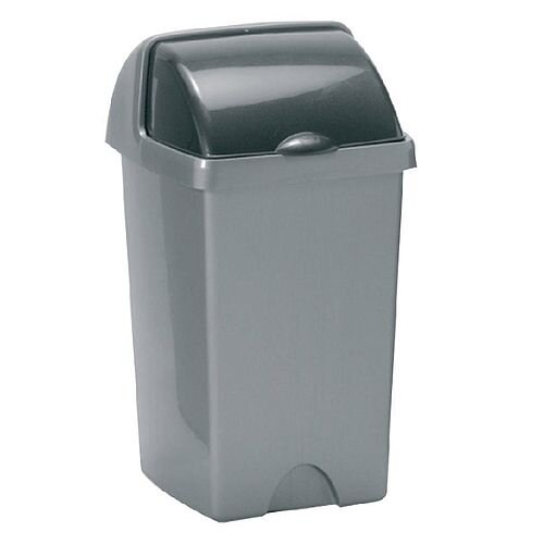Addis Roll Top Plastic Waste Bin 25 Litres Metallic Grey 510679/510694