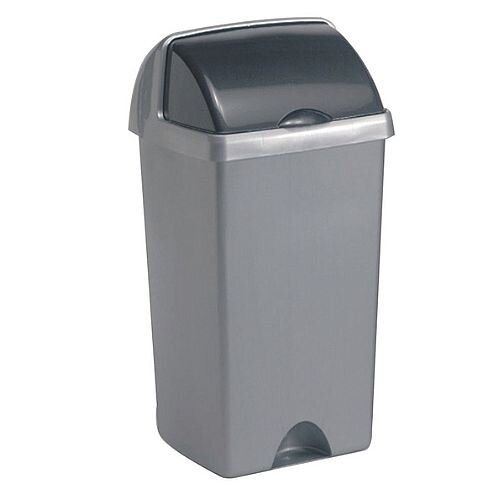 Addis Roll Top Tall Plastic Waste Bin 50 Litres Metallic Silver 9716MET