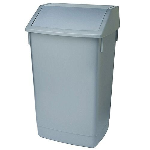 Addis 60 Litre Flip Top Waste Bin Metallic Grey Finish AG813418