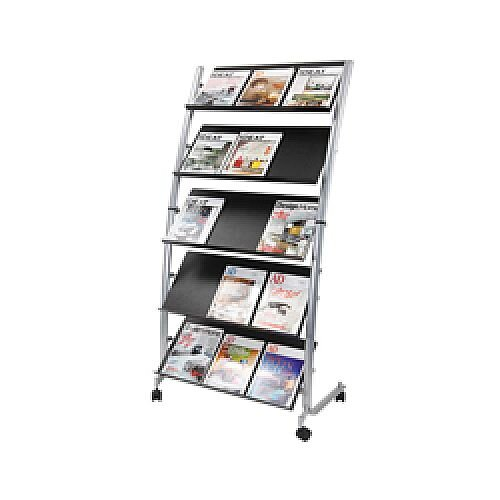 Alba 5 Shelf Single Sided Mobile Literature Display Stand 3xA4 DD5GM