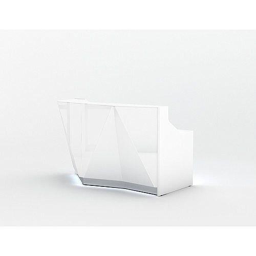 ALPA Straight Reception Desk with White Glass Front W1835xD946xH1100mm