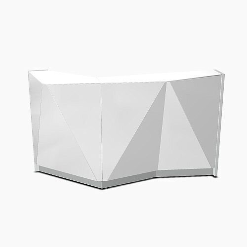 ALPA Straight Reception Desk with Silver Glass Front W1835xD946xH1100mm