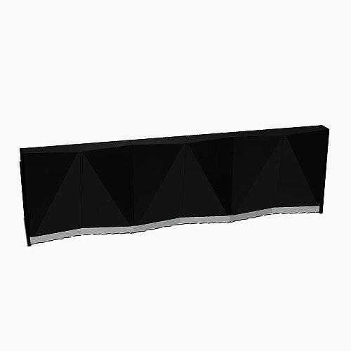 ALPA Straight Reception Desk with Black Glass Front W3656xD946xH1100mm