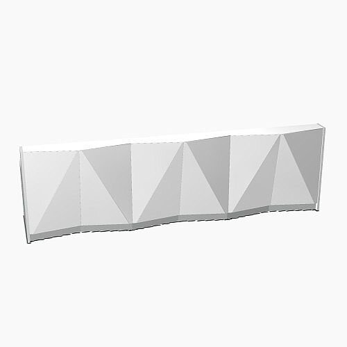 ALPA Straight Reception Desk with Silver Glass Front W3656xD946xH1100mm