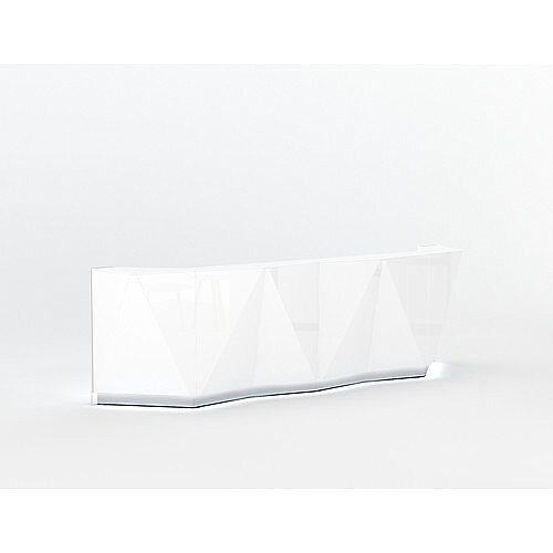 ALPA Straight Reception Desk with White Glass Front W3613xD946xH1100mm