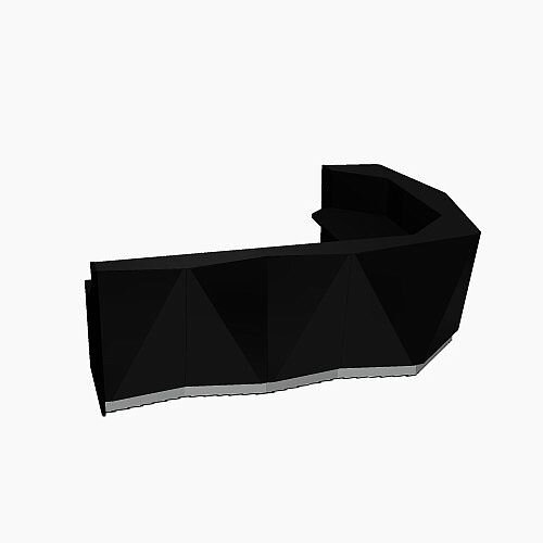 ALPA Curved Reception Desk with Black Glass Front W3135xD2514xH1100mm