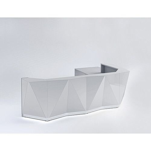 ALPA L Shaped Reception Desk with Silver Glass Front &Left Low Level Section W3967xD3135xH1100mm