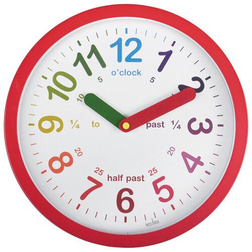 Acctim Lulu Time Teaching Wall Clock 260mm Red 21884