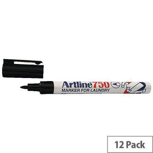 Artline Laundry Marker Black Pack of 12 750