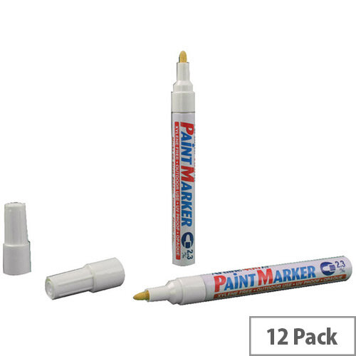 Artline 400 Paint Pen Marker Medium Bullet Tip White Pack of 12