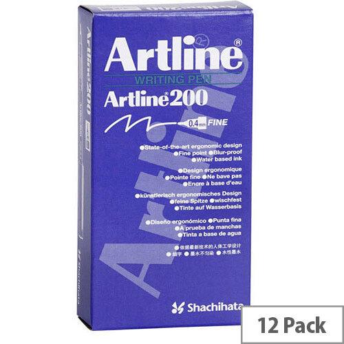 Artline 200 Black 0.4mm Tip Pen Pack of 12