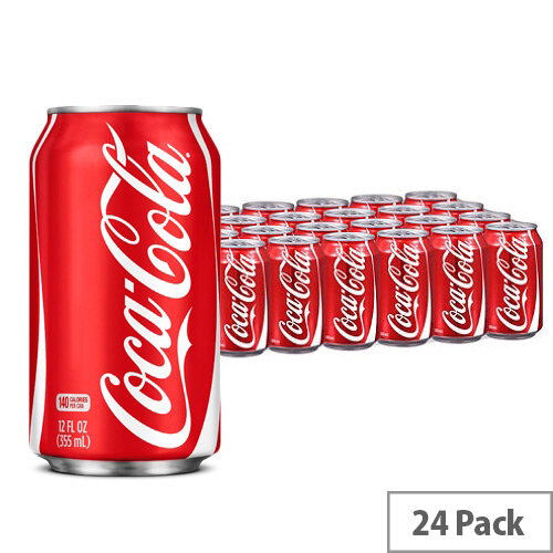 Coca-Cola Original Classic Coke Soft Drinks 330ml Can - Pack of 24, Ideal For Any Home, Office, Shop, Canteen &More!