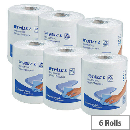 Kimberly-Clark Wypall L20 Roll Control Wipers Tissues Refill Paper Rolls 400 Sheets per Roll White Pack of 6 7491